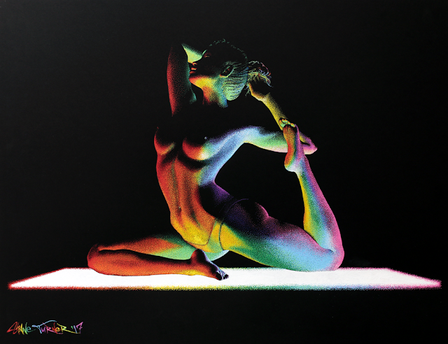 Pointillism colorful Painting on Paper of woman doing yoga being lit from underneath by yoga mat in rainbow of colors creating a modern colorful chiaroscuro effect.