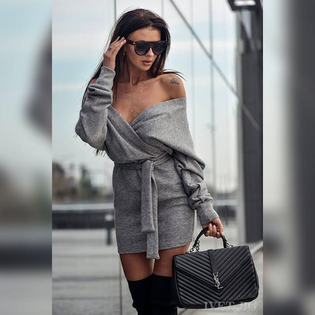 Μοντέρνο κοντό γκρι φόρεμα SINALIA GREY