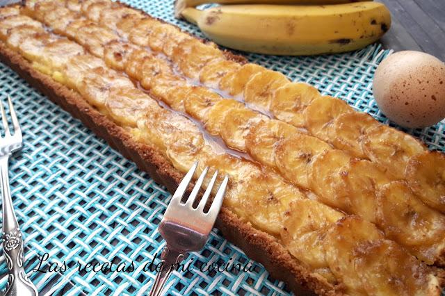 Tarta de plátano y crema