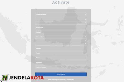 isi semua kolom halaman aktivasi download peta rbi