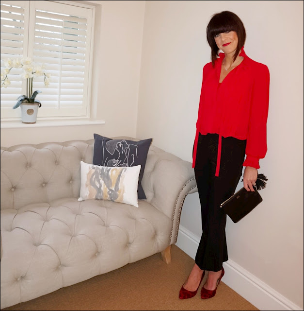 My Midlife Fashion, Whistles cropped kick flare trousers, aurora london willow bag, red leopard print court shoes, marks and spencer per una frilly blouse