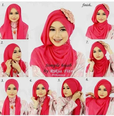 Tutorial Hijab Turban Segi Empat Modern Gaya #18 Sweet Chic
