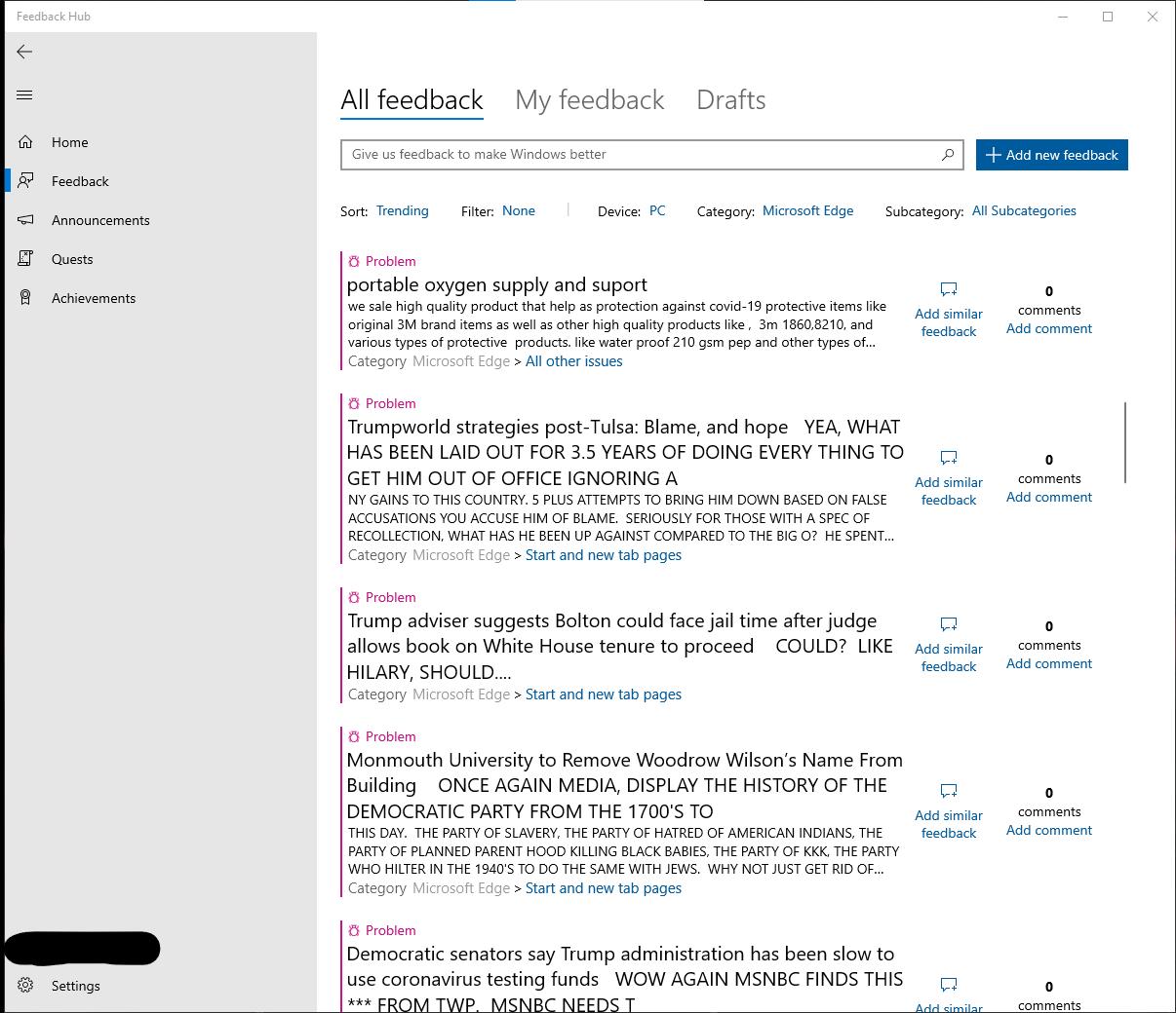 Difficile che Microsoft riesca a leggere i feedback se l'Hub è pieno di troll