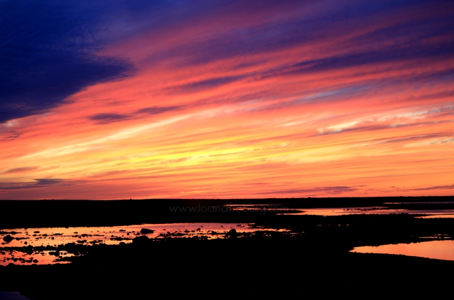 sunset over the tundra in Churchill, Manitoba