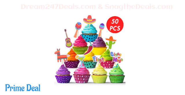 50% OFF  50PCS Mexican Fiesta Cupcake Toppers