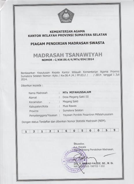Surat Izin Operasional Mts Miftahussalam