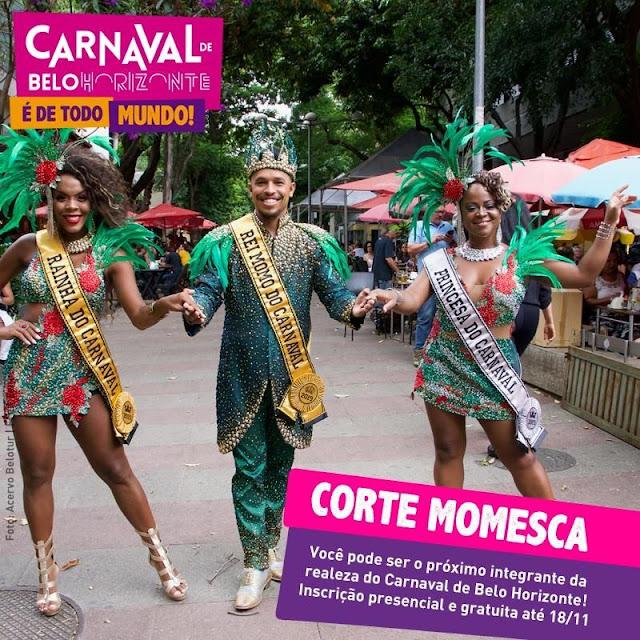 Inscrições para a Corte Real Momesca do Carnaval 2020 de Belo Horizonte vão até dia 18 de novembro.