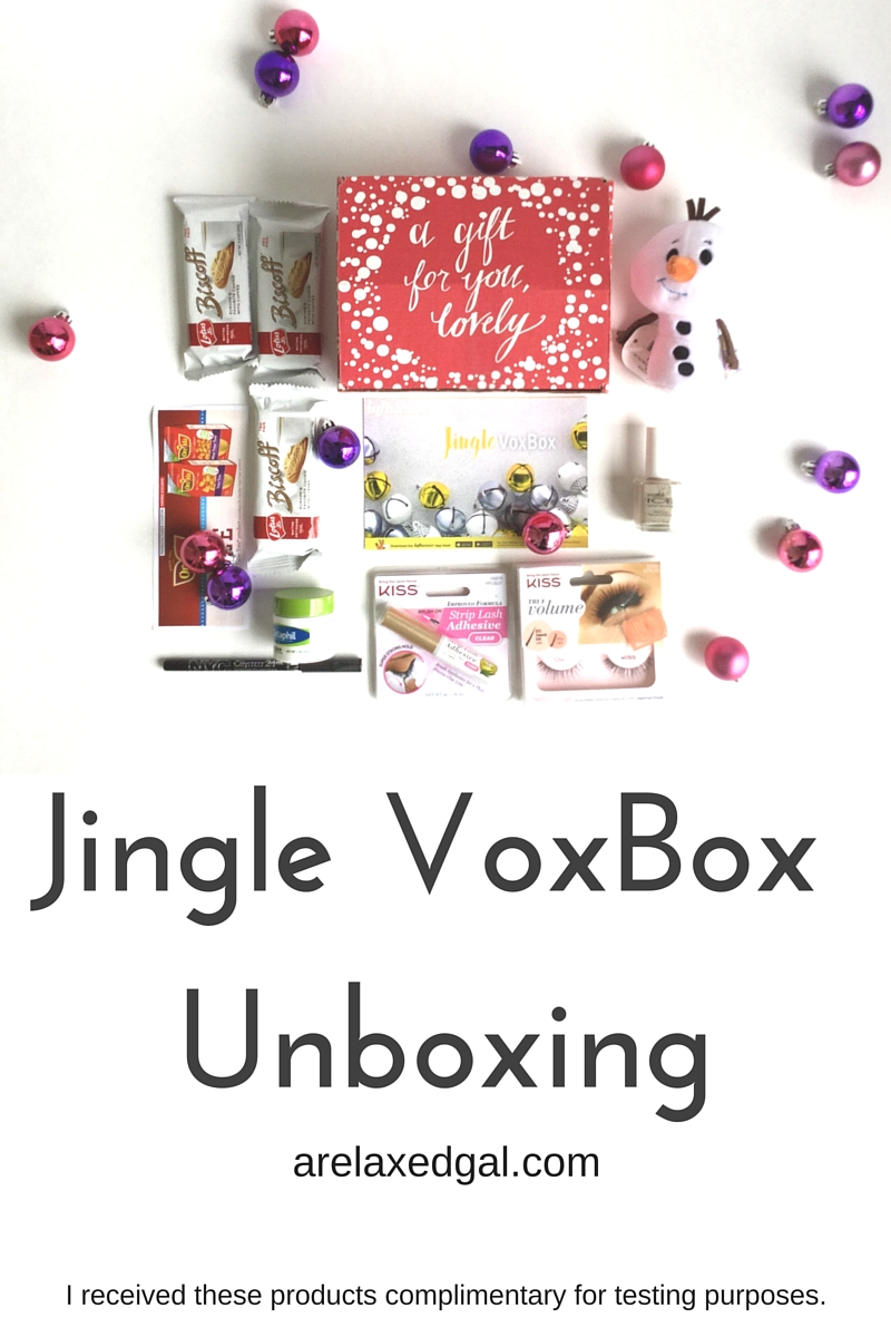This winter I received another VoxBox from Influenster called the Jingle VoxBox. This VoxBox is filled with items that perfect for winter nights and holiday parties. So there is a nice mix of food and beauty products.   arelaxedgal.com