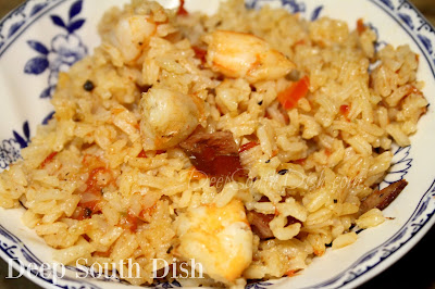 A smaller batch of classic jambalaya, made with the trinity, rice, shrimp and smoked sausage.