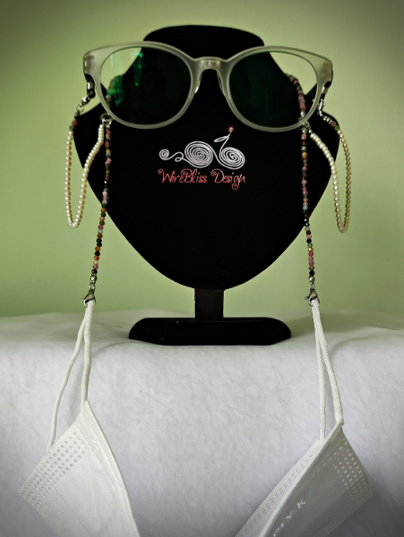 2 in 1 Tourmaline and Pearl Face Mask, Eyeglasses Straps