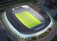 Gece üstten stadyum görünümü, futbol stadyumu