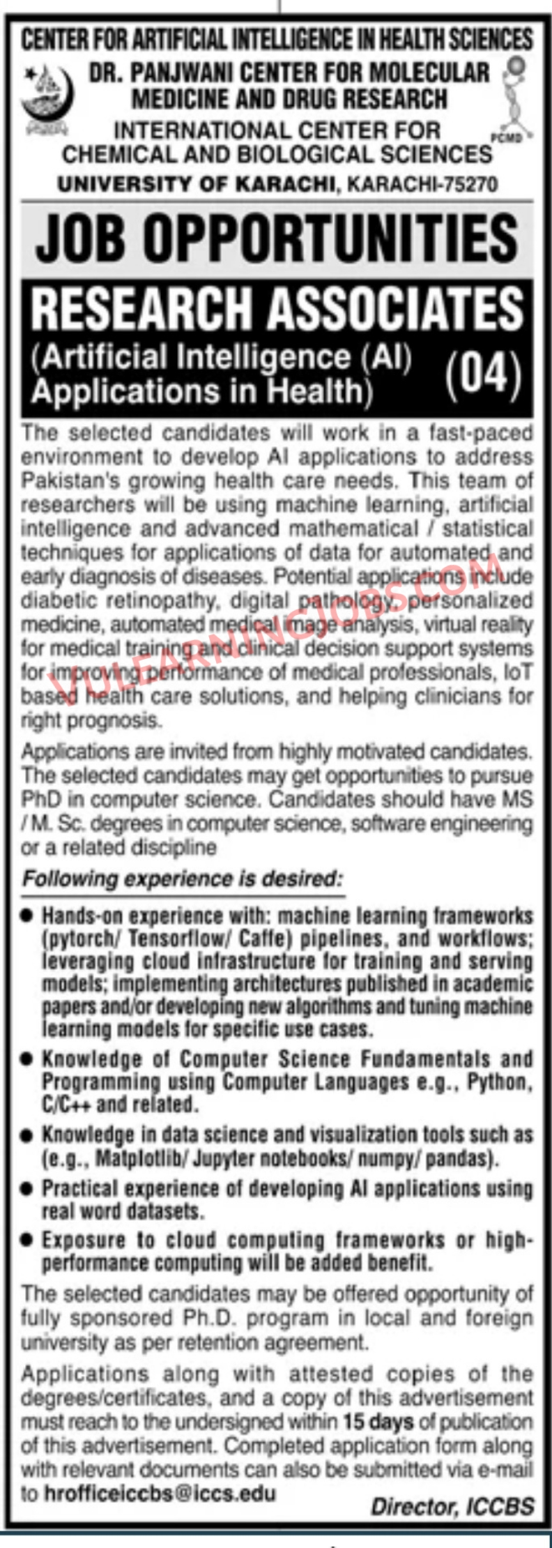 Center For artificial Intelligence In Health Sciences Jobs September 2021 For Research Associates Latest