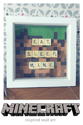 Minecraft inspired wall art with scrabble tiles