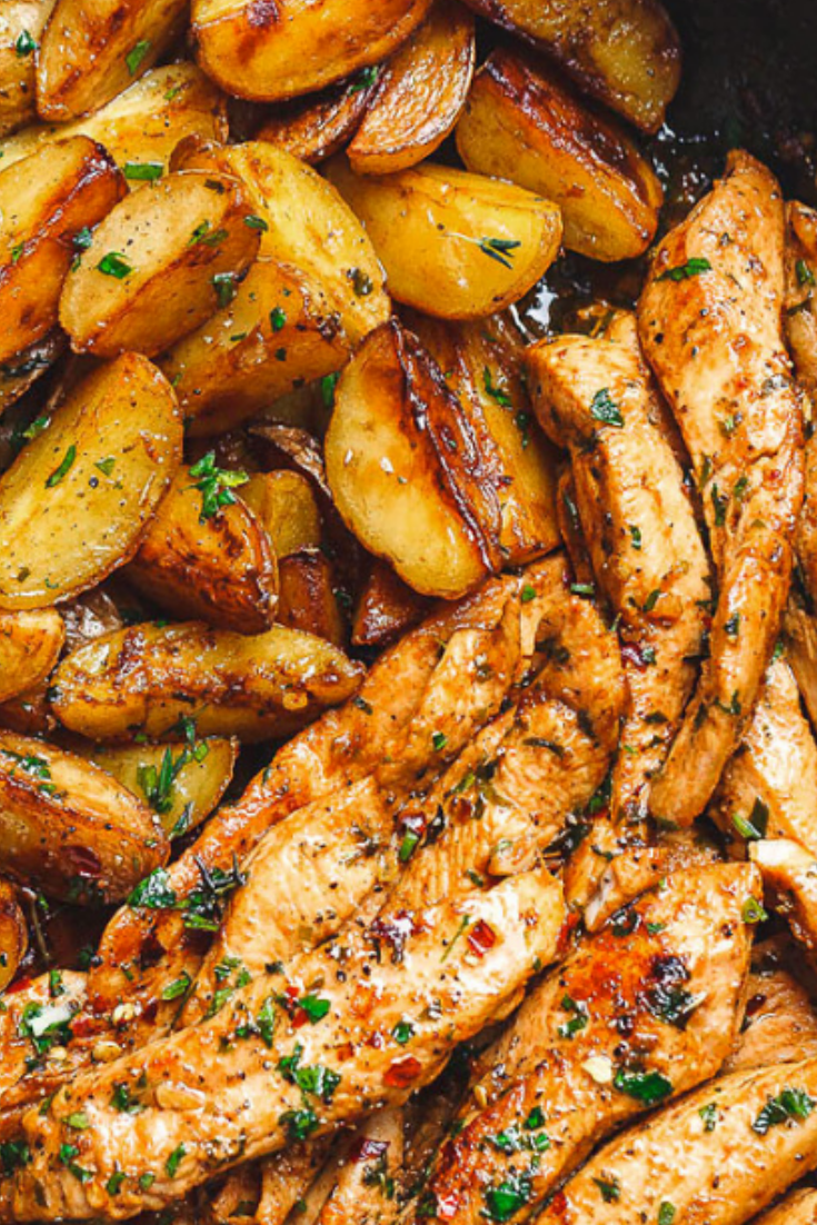 Garlic Butter Chicken and Potatoes Skillet Recipes