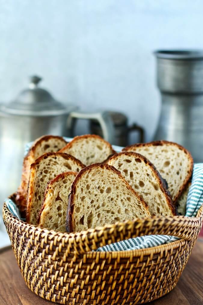 No Knead Whole Wheat Bread in basket