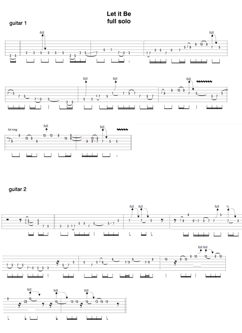 how to play let it be guitar solo
