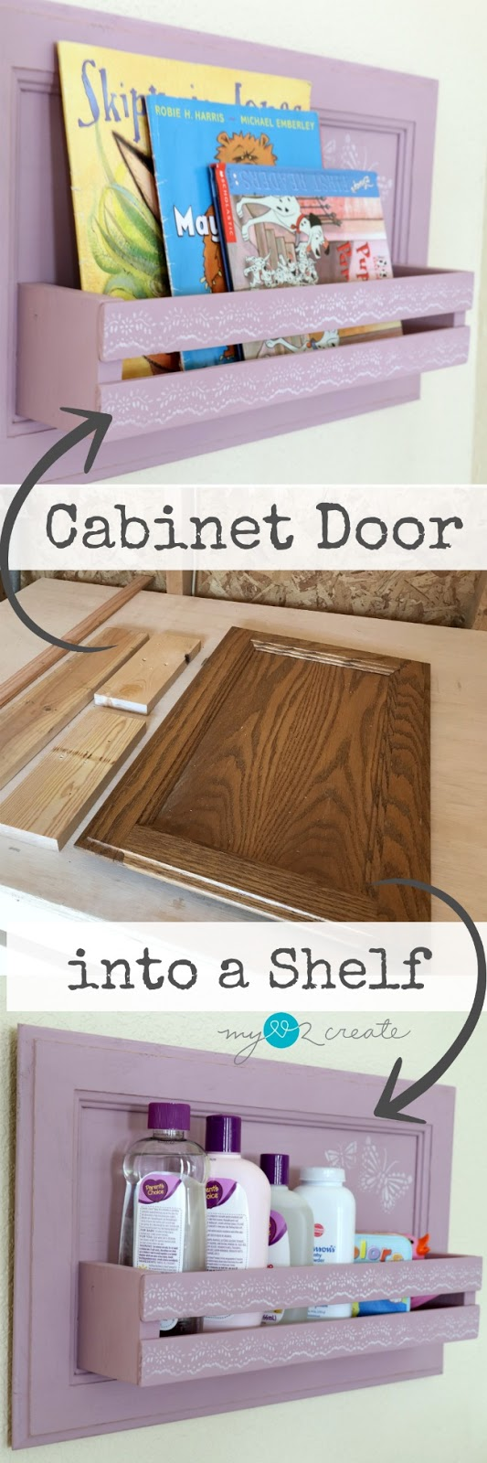 How to turn a cabinet door into a shelf, full picture tutorial at MyLove2Create