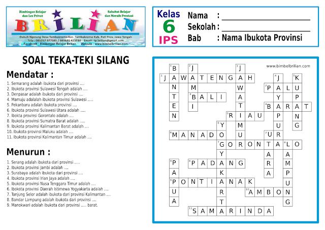 Soal Teka-Teki Silang ( TTS ) Kelas 6 SD Tentang Nama Ibukota Provinsi di Indonesia
