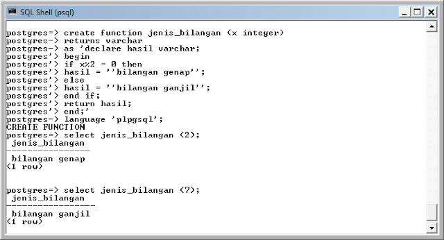 Kelas Informatika - Fungsi Ganjil Genap PostgreSQL