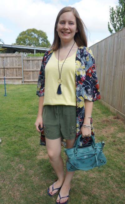 Jeanswest Melanie floral kimono and essential v neck tee in elfin yellow olive pull on shorts | awayfromblue