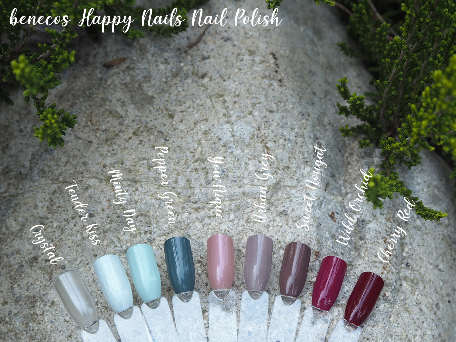 benecos Happy Nails Crystal, Tender Kiss, Minty Day, Pepper Green, You-Nique, Urban Grey, Sweet Nougat, Wild Orchid und Cherry Red