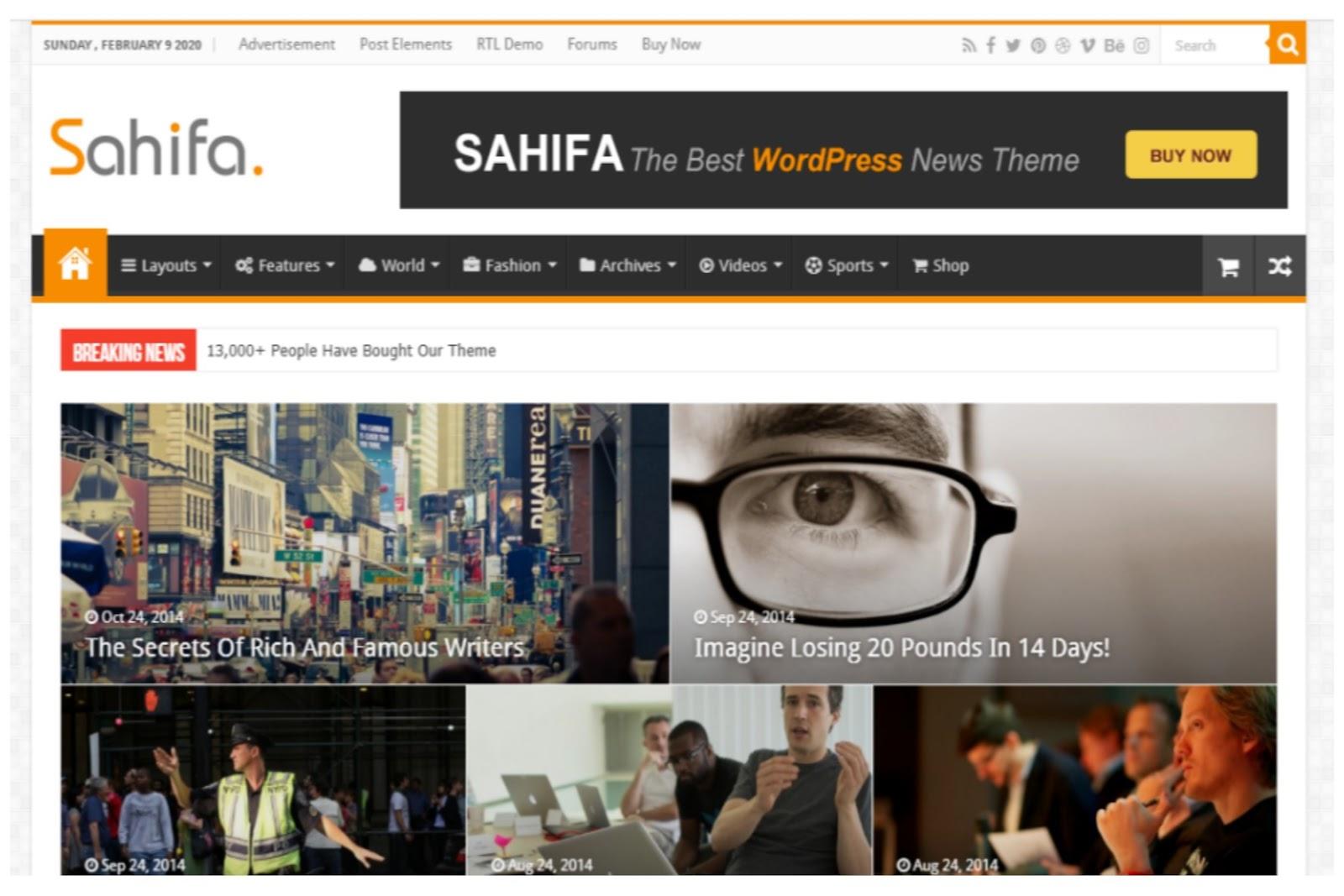 Shafia WordPress Theme