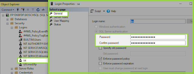 Security password details - SQL Server