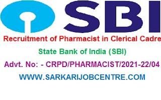 SBI Pharmacist Clerk Recruitment 2021 Apply Online