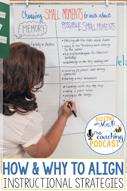 """Some teachers hear the word """"alignment"""" and cringe. They worry that they'll lose their individuality or that everyone will have to be """"on the same page"""", literally. But there are some effective ways to align instruction that don't involve synchronized page-turning. In this episode, I share the reason and method for aligning instructional strategies! Instructional coaches who listen in will learn how to follow a process for aligning instructional strategies to maximize teacher effectiveness and your collaborative planning, too!"""