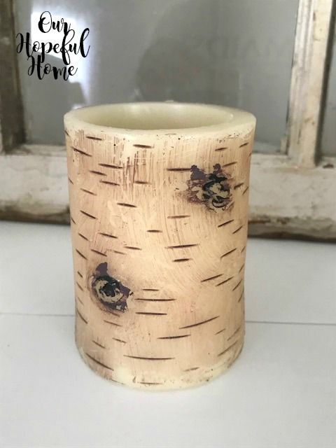 LED rustic candle birch bark facade