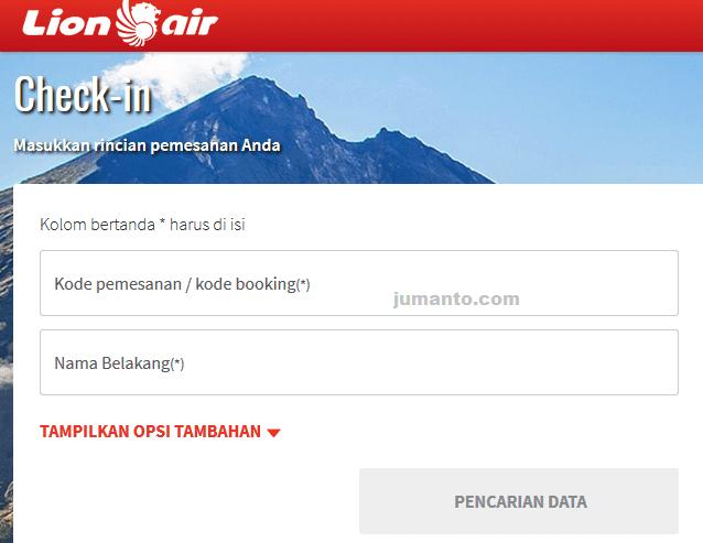 memilih tempat duduk pesawat lion air check in online