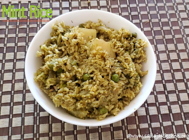 images of Mint Rice Recipe /  Pudina Rice Recipe - Easy Lunch Box Rice Recipe