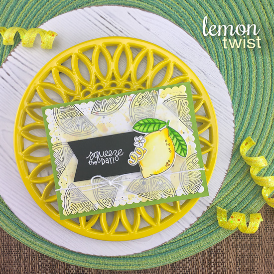 squeeze the Day Lemon card by Jennifer Jackson | Lemon Twist Stamp Set, Framework Die Set and Frames & Flags Die Set by Newton's Nook Designs #newtonsnook #handmade