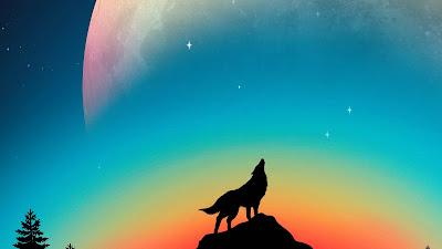 HD Wolf Howling Minimal Wallpaper