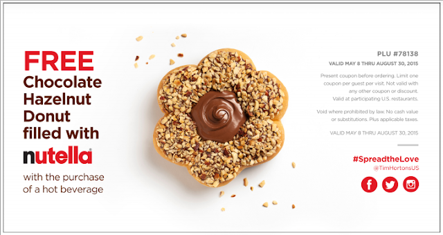 image about Nutella Printable Coupon titled Tim Hortons: *Absolutely free* Nutella Stuffed Donut with get