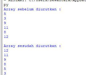 output bubble sort descending python