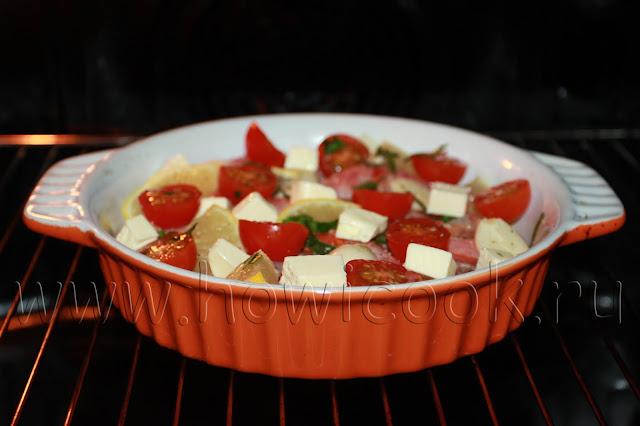 рецепт лангустинов, запеченных с лимоном, черри и вином в духовке с пошаговыми фото