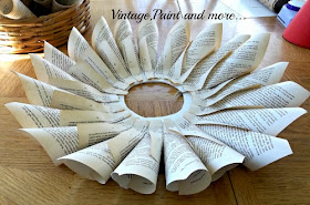 Vintage, Paint and more... - finished firt row of cones of a book page wreath