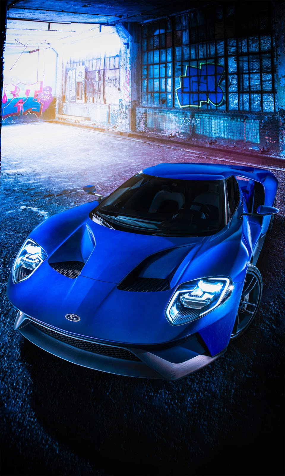 Ford gt 2016 blue garage sportcar wallpaper