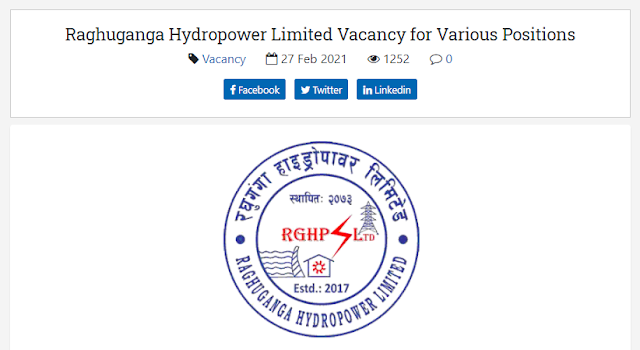 Raghuganga Hydropower - Vacancy for Various Post