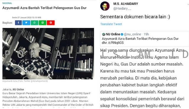 Azyumardi Azra Bantah Terlibat Pelengseran Gus Dur, Warganet: Dokumen Berbicara Lain