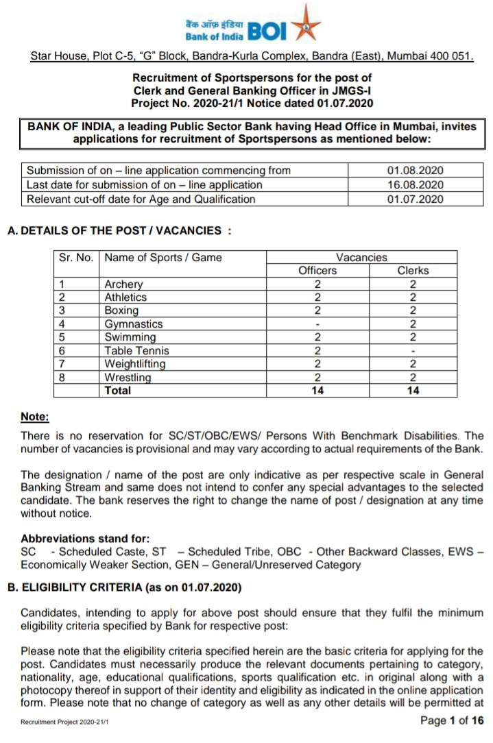Recruitment of Sportspersons for the post of   Clerk and General Banking Officer in JMGS-I  Project No. 2020-21/1,Jobs, Banking Jobs, Bank Of India Latest Recruitment Notification,bank of india  bank of india recruitment 2020 apply online  central bank of india recruitment  bank of india recruitment sub staff  bank recruitment 2020  bank of india jobs for 12th pass  union bank of india recruitment  bank of india pre recruitment formalities  bank of india recruitment 2020 in maharashtra  boi sub staff salary  canara bank recruitment