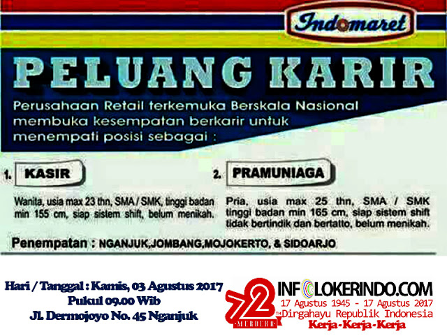 Lowongan Kerja Indomaret Nganjuk, Jombang, Mojokerto, & Sidoarjo 2017