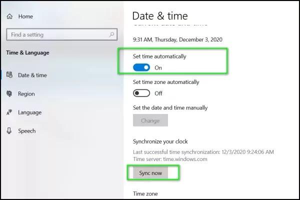 ضبط الوقت تلقائيًا ويندوز