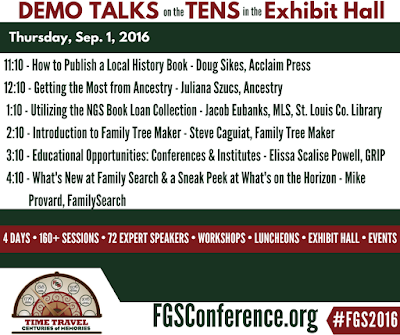 Thursday Demo Area Schedule for FGS 2016
