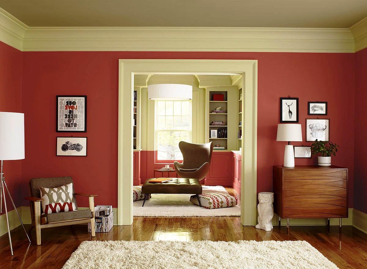 Cat Ruang Tamu 2 Warna Merah dan Krem