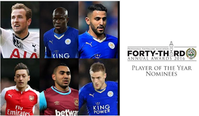 Jamie Vardy, N'Golo Kante and Riyad Mahrez of Leicester City nominated for PFA Player of the Year Awards