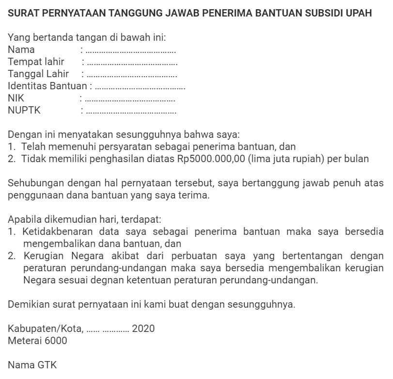 gambar contoh surat Pernyataan Tanggung Jawab Penerima Bantuan Subsidi Upah