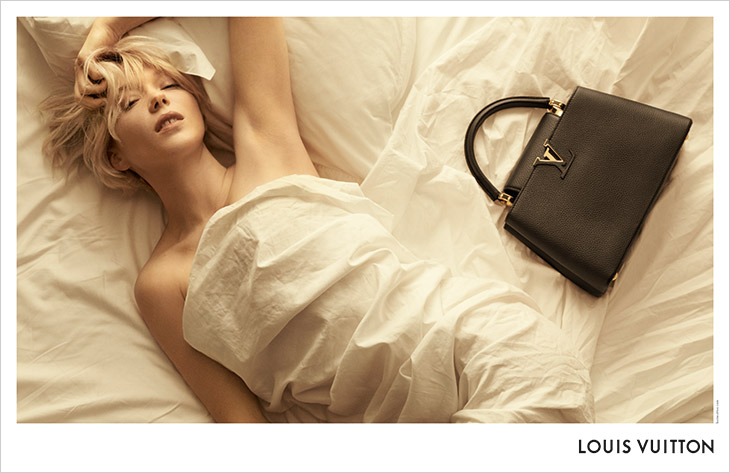 Lea Seydoux Lounges in Bed for Louis Vuitton 'Capucines' Campaign