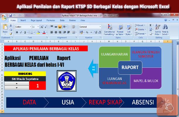 Aplikasi Nilai dan Raport SD KTSP untuk Berbagai Kelas dengan Microsoft Excel